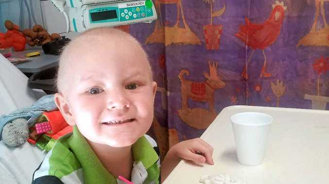 BRAVE: Four-year-old Bundaberg boy Sam Ross is fighting a rare case of leukaemia in Brisbane.