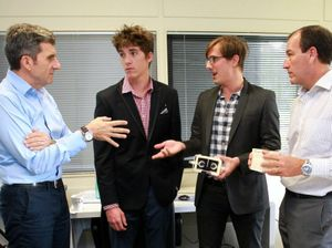 Internet guru Daniel Petre was a guest of Startup businesses at the Innovation Centre at the University of the Sunshine Coast. Pictured (from left) are Daniel Petre, Danum Harris-Lusk and Wilfrid Watson from Phenomec, and Mal Brough.