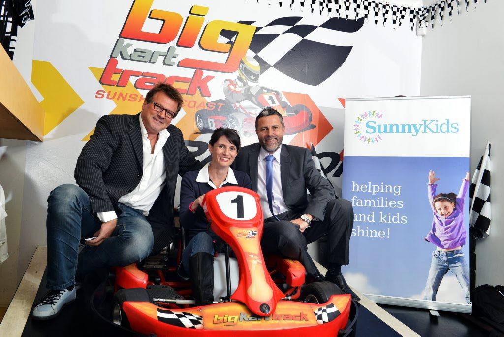 SUNNYKIDS LAUNCHES: Ferre De Deyne(Big kart Track), Rachael Wittan(SunnyKids Business Development Manager) and Chris Turner(SunnyKids CEO). Photo: Patrick Woods / Sunshine Coast Daily