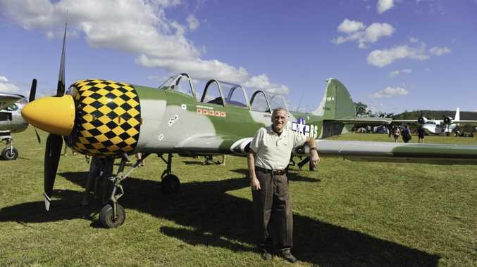 Norman Taylor took a ride in a Second World War Yakolev fighter plane for his 77th birthday at the Old Station Fly-in and Heritage Show.