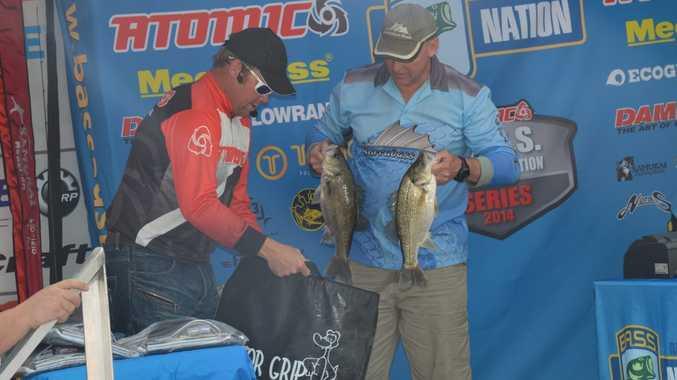 Bass Australia Nation Lake Boondooma event winner Brad Clark weighs in his fish. Photo: Aiden Burgess / South Burnett Times