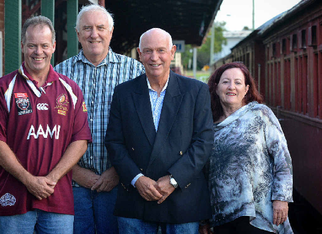 IN CHARGE: Members of the Rattler Railway Company (from left) Tony Hallam, Garry Davison, Ian McNicol and Gaylene Smith.