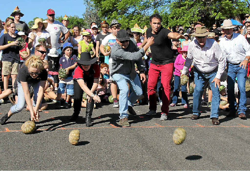 FIERCE COMPETITION: A total of almost 600 people competed in The Great Australian Pumpkin Roll on Sunday.