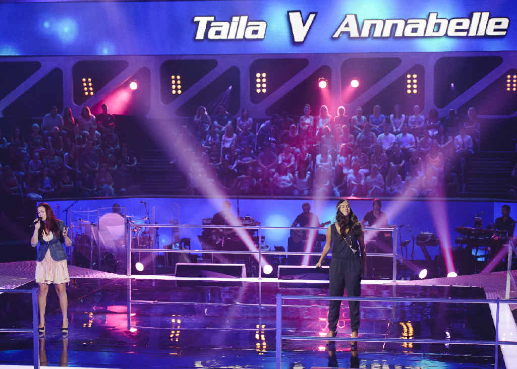 BATTLING IT OUT: Moranbah's Taila Gouge (right and below) competed against Annabelle Eve on The Voice last night.