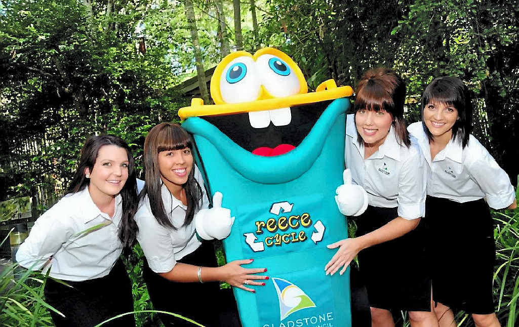RECYCLING RAIDERS: Gladstone Regional Council's Sarah Pugh (from left), Annie Young, Jessica Cullen and Anthea Bennett join Ecofest ambassador Reece Cycle.
