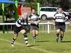 HOME GROUND: Warwick Water Rats fly-half Jack Grant fires a pass to his outside backs against the Condamine Cods.