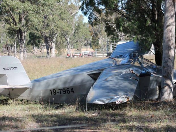 VERY LUCKY: Two Caboolture men suffered back injuries after their home-built kit plane crashed near Leyburn.