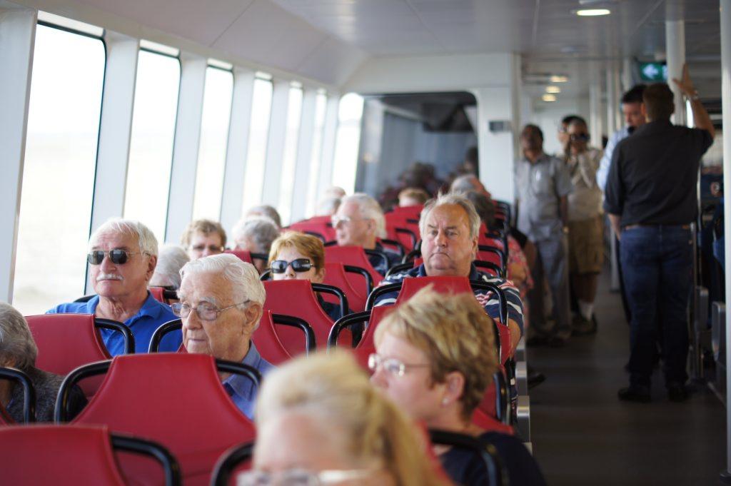 Passengers enjoy the quarterly construction cruise on Gladstone harbour.