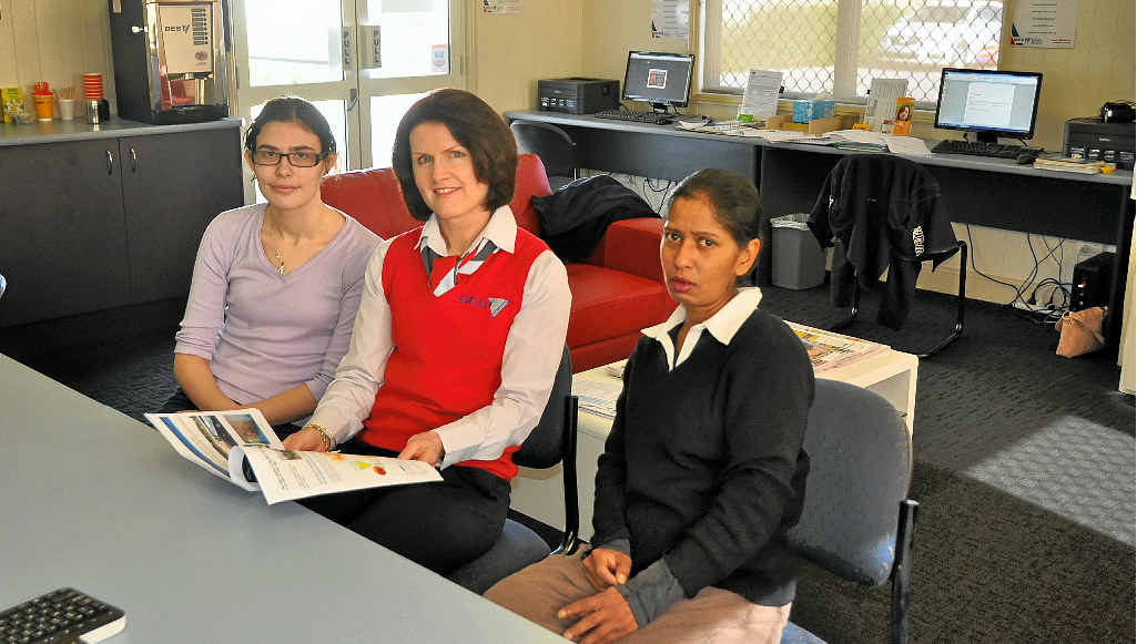 GREAT FACILITY: Participant Corrina Bugeia, BEST Employment training officer Justine Constable and participant Shanti Suriya enjoy the Access Centre.