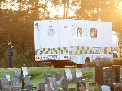 Police guard the cemetery on Eskdale Road in the search for Blessie Gotingco. Photo / Chris Gorman