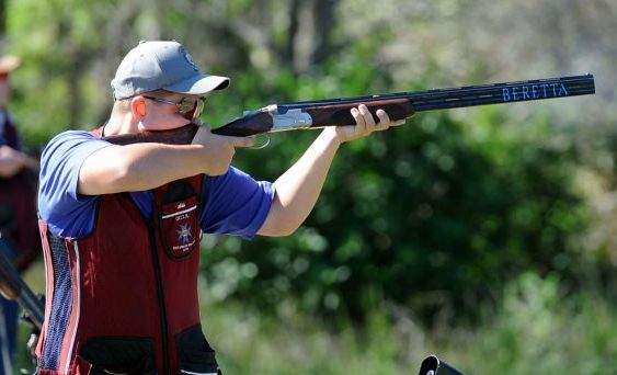 Clay Target shooter Adam Bylsma on the range at the Maryborough Clay Target Shoot on Saturday.