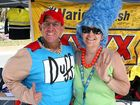 David Murray, alias The Duff Man, and Debra Wilson, alias Marg Simpson, at the Variety stall at the Capricorn Coast Business Expo in Yeppoon on Saturday. Photo Mike Knowling / Capricorn Coast Mirror