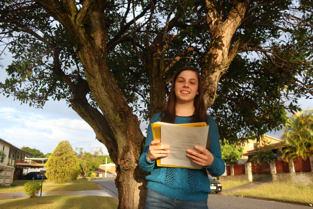 Laura Kane is a keen speech and drama student, practicing her poems at home before the Gladstone City Eisteddfod.