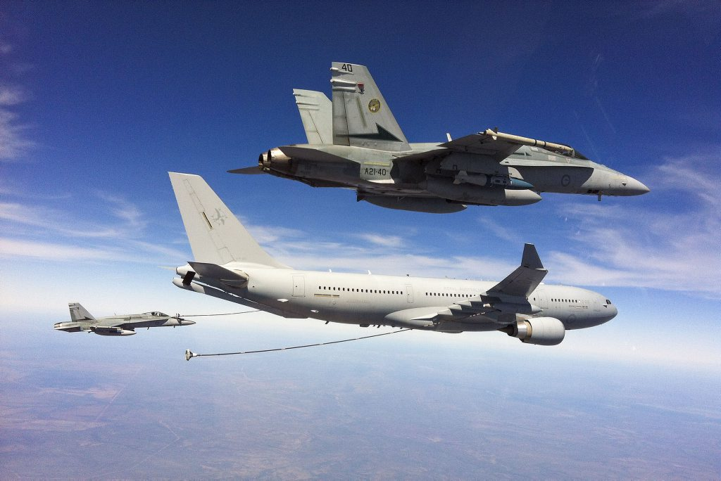 Sightings of jets trailing what looked like a commercial passenger plane over Westbrook turned out to be a RAAF Base Amberley training exercise.