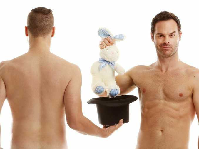The Naked Magicians, Christopher Wayne, left, and Mike Tyler.