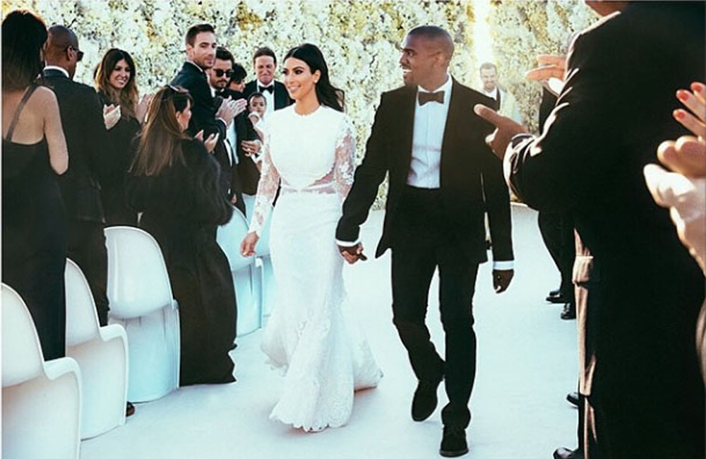 Kim Kardashian and Kanye West at their wedding (c) Kim Kardashian Instagram