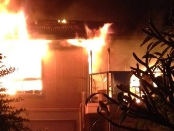 The blaze that destroyed an Allens Parade, Lennox Head, home. Photo Contributed