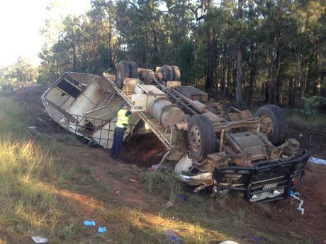 A truck has crashed on the Warrego Hwy east of Miles.
