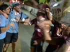 Video: State of Origin fans show their colours on Caxton St