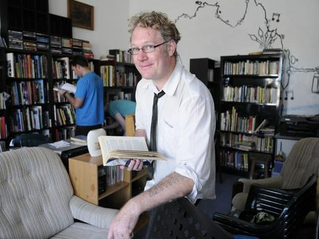 Musican and Australian Cultural Library owner, Steve Towson in his Margaret Street shop. Photo: Bev Lacey / The Chronicle
