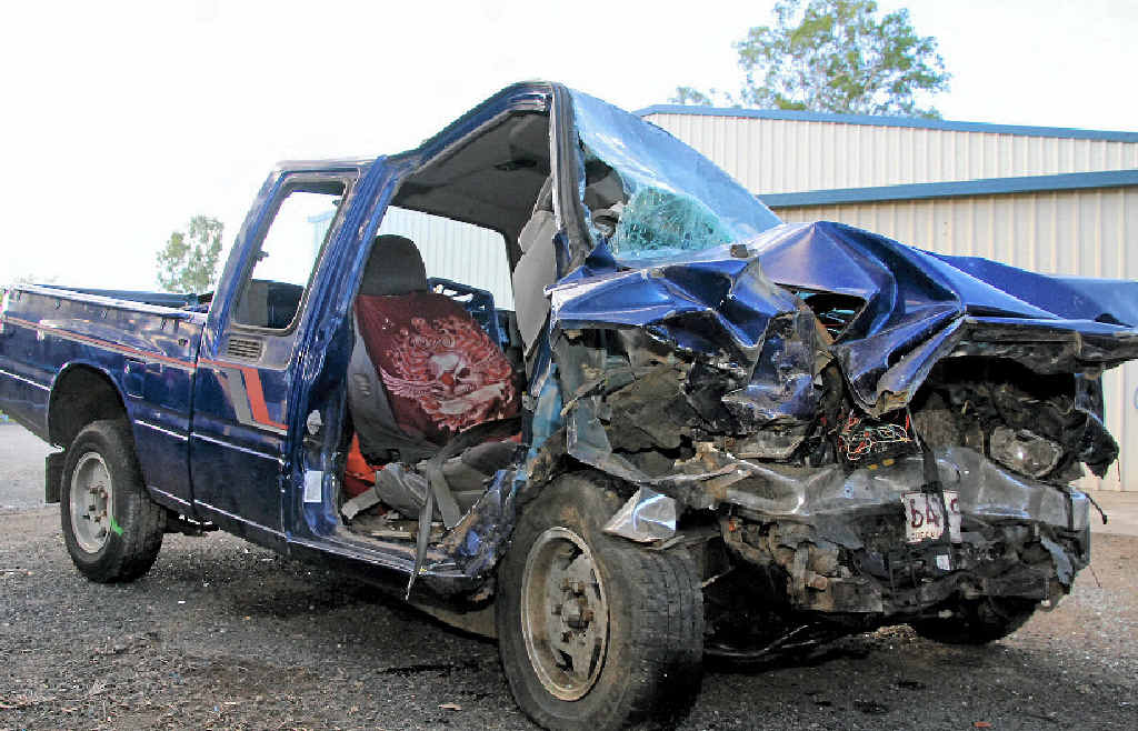 TRAGEDY: The wreck of the ute a 28-year-old man was driving when he was killed in a crash on Tuesday near Gin Gin.