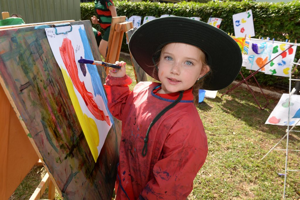 ART STUDIO: Sienna Baldry-Short at the Woongarra State School's under eights day. Photo: Mike Knott / NewsMail