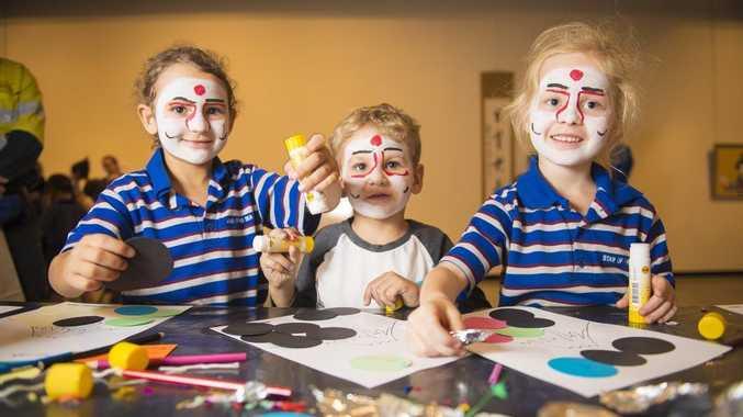 CELEBRATING SAIKI: Enjoying the Japanese collage at the Saiki Children's Day are Stella Castelli, 6, brother Jordan, 4, and Amaya Wilson, 6 from Star of the Sea Catholic Primary School.