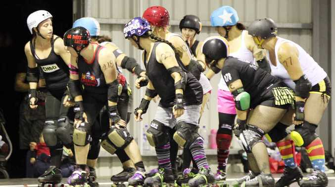SHOWCASE: The Central Highlands Derby Dolls are pleased with the success of their first black and white scrim.