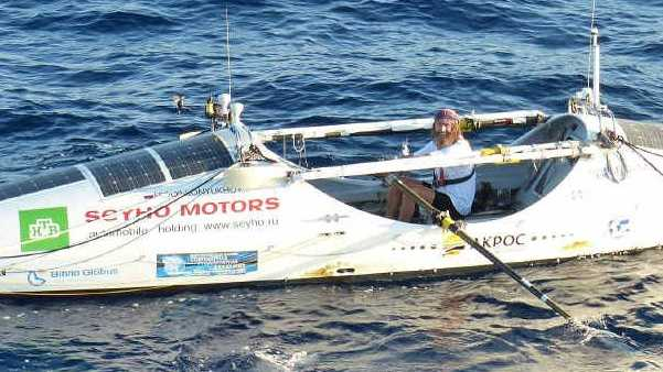 NEARLY THERE: Intrepid solo Russian rower Fedor Konyukhov is in fine spirits 60 nautical miles off the Sunshine Coast yesterday after being out of contact for 158 days.
