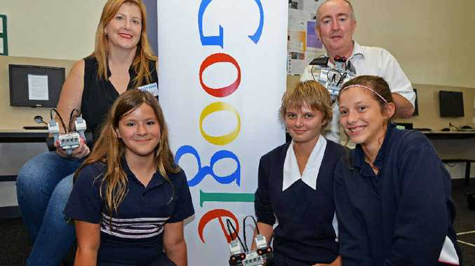 SCHOOL VISIT: Students Georgia Le Comte, Hailey Lea and Fenella Mac Lennan with Sally-Ann Williams from Google and Graeme Breen, IT teacher.