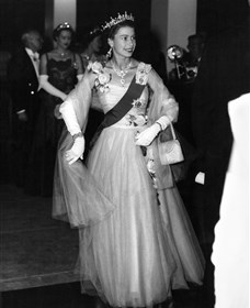 Queen Elizabeth II at banquet on Royal Tour in 1954