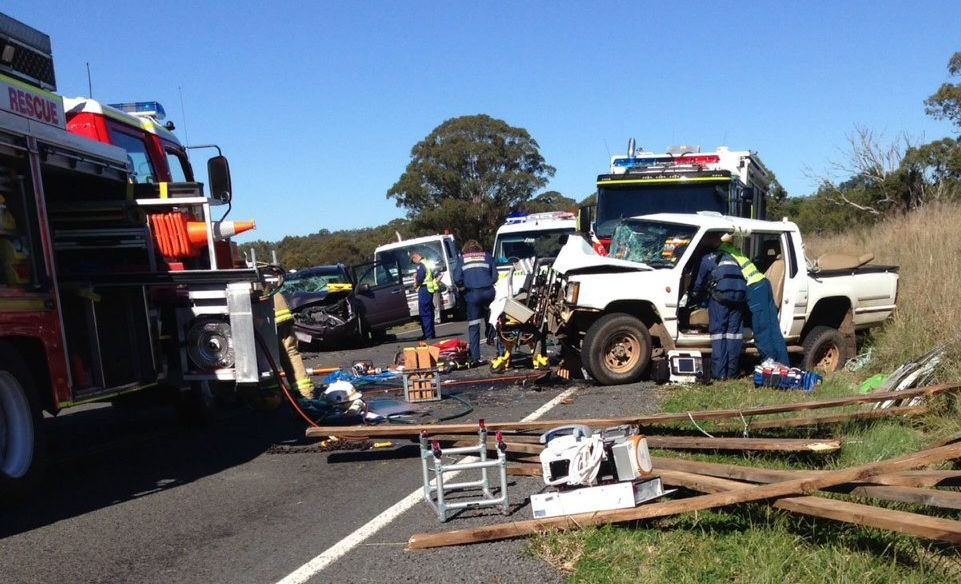 Emergency services worked for more than two hours to free Mr Macdonald from his ute after a serious crash on the New England Hwy.