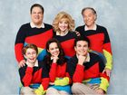The cast of the TV series The Goldbergs, clockwise from top right: George Segal, Troy Gentile, Hayley Orrantia, Sean Giambrone , Jeff Garlin and Wendi McLendon-Covey. Supplied by Channel 7. Please credit photo to ABC/Courtesy Sony Pictures Television.
