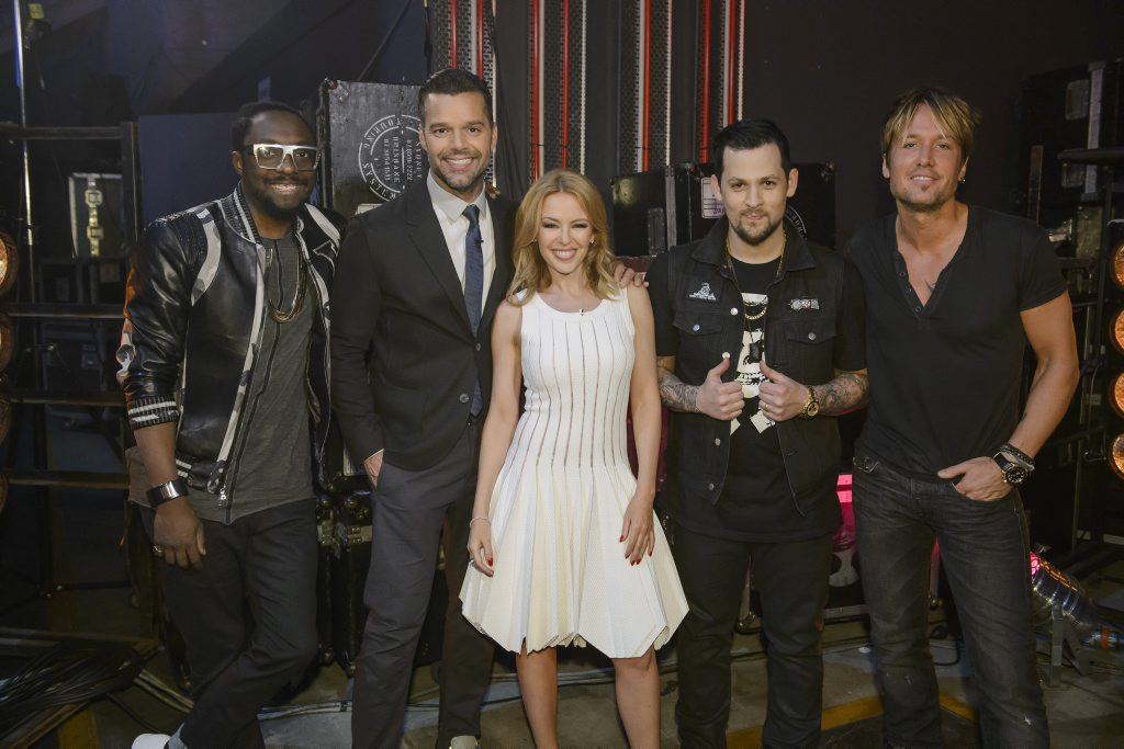 Keith Urban, far right, pictured with The Voice Australia season 3 coaches, from left, will.i.am, Ricky Martin, Kylie Minogue and Joel Madden.