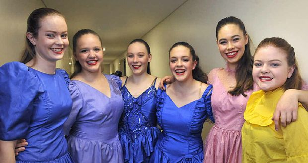 GREAT CAUSE: Dressed in some crazy costumes for a dance piece at the Droughtbuster concert are St Ursula's students (from left) Bridget Webster, Mikaela Maurer, Renae Bruggemann, Sophie McHardy, Lucy Hood and Adrianna Williamson.