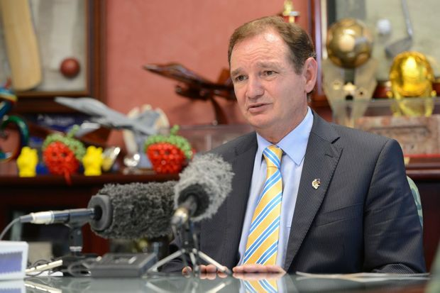 Ipswich Mayor Paul Pisasale speaking to media about recent allegations with regards to donations to his Forward Ipswich fund. Photo: Sarah Harvey / The Queensland Times