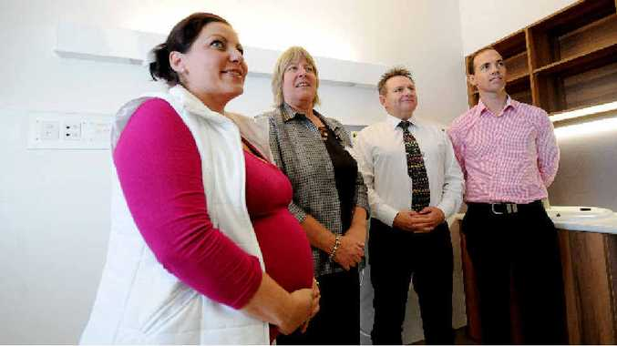 NEW FACILITY: Expectant mother Miranda Saunders (left), executive director of Richmond Clarence health service group Lynne Weir, project officer Scott Huxley and branch manager of Woollam Constructions Ben Cummins visit the new 10-bed maternity wing at Lismore Base Hospital.
