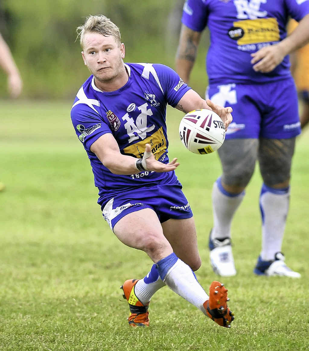 STEPPING UP: Aaron Watson spreads the ball wide in Valleys' win over Wallabys. The halfback has found himself filling the big shoes of Casey McGuire, a difficult task he is slowly coming to terms with.