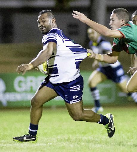 EXTRA MOTIVATION: Robbie Congoo nearly makes a break while helping his side Brothers to yet another victory this season.