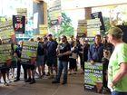 ETU state organiser Stuart Traill addresses a protest rally over asset sales in Brisbane.