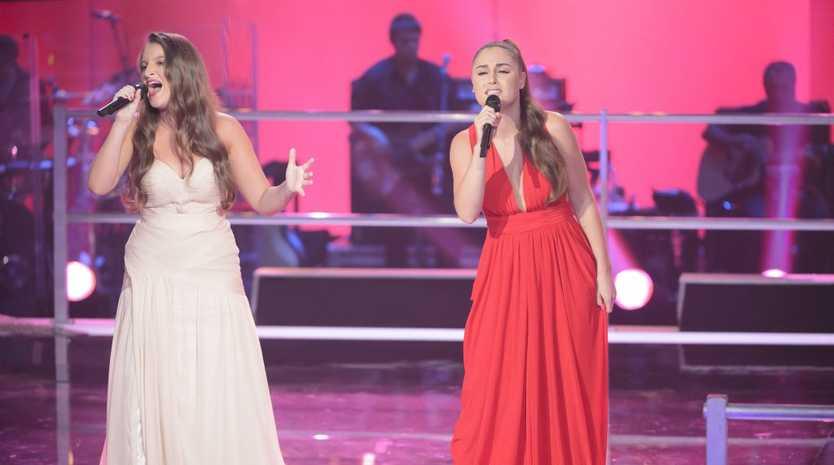 The Voice Australia contestants Brittanie Shipway, left, and Megan Longhurst pictured during their battle.