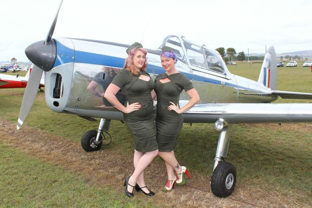 Miss Chevy Delight and Miss LuLu Divine dressed to impress at the Watts Bridge Memorial Airfield All-In Fly-In at Toogoolawah. Photo Tom Threadingham / Gatton Star