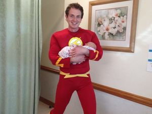 Superhero couple's first baby arrives in a 'Flash'