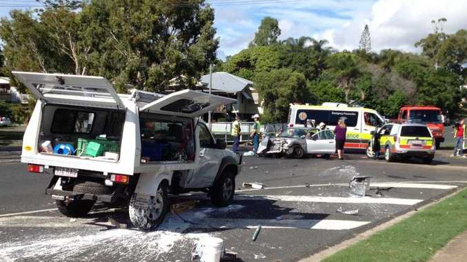 Ambulance officers at the scene of a two-vehicle crash on the corner of Tavistock and Freshwater Sts in Torquay.