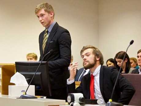 Jag Macdonald (left) and Hamish Chapman win the USQ Moot Tournament grand final. Photo Contributed