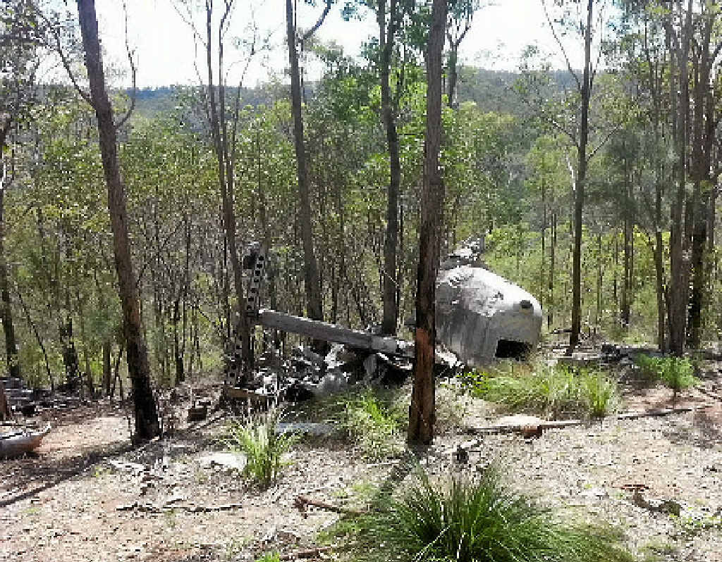 TRAGIC PAST: Crash site of Beautiful Betsy, a Second World War B-24D Liberator Bomber aircraft, that crashed in Kroombit Tops National Park in 1945.