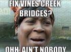 Vines Creek Bridges fiasco has become the joke of Mackay