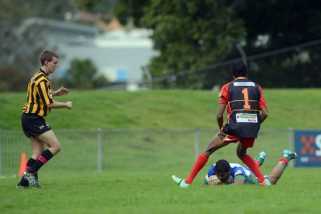 Djaan Jarrett scores for Northern against Southern in the 2014 Timber Cup at Oakes Oval.