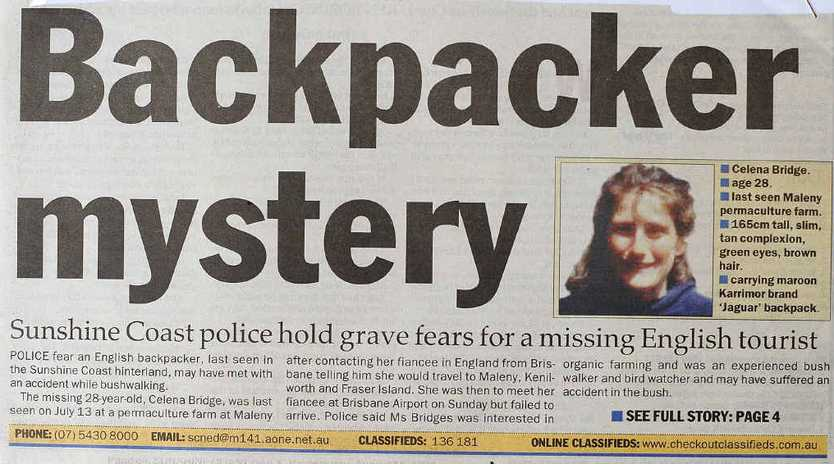 COAST MYSTERY: The Daily's coverage on Celena Bridge's disappearance in August 1998.