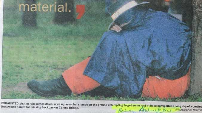 NON-STOP: Weary SES volunteers take a break from the mass search for missing backpacker Celena Bridge. The Daily's coverage from August 16, 1998.